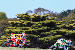 © Licensed to London News Pictures. 19/10/2012. Marc Marquez (SPA) riding for the Repsol Honda Team  during the Qualifying day of the round 16 2013 Tissot Australian Moto GP at the  Phillip Island Grand Prix Circuit Victoria, Australia. Photo credit : Asanka Brendon Ratnayake/LNP