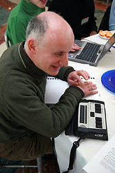 Braille note taker at National Pensions Debate London 2006 UK