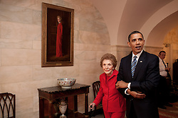 President Barack Obama and former First Lady Nancy Reagan walk side-by-side through Center Hall in the White House, June 2, 2009. To the left of Mrs. Reagan hangs her official White House portrait as First Lady. (Official White House Photo by Pete Souza), This official White House photograph is being made available for publication by news organizations and, or for personal use printing by the subject(s) of the photograph. The photograph may not be manipulated in any way or used in materials, advertisements, products, or promotions that in any way suggest approval or endorsement of the President, the First Family, or the White House.Ê. EXPA Pictures © 2016, PhotoCredit: EXPA/ Photoshot/ Pete Souza<br /> <br /> *****ATTENTION - for AUT, SLO, CRO, SRB, BIH, MAZ, SUI only*****