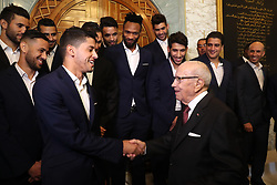 November 10, 2018 - Carthage, Tunisia - Handshake with Saad Beguir author of two goal in the final .....The president of the republic Beji Caid Essebsi received at Carthage Palace the delegation of Esperance Sportive de Tunis (EST) after his victory by 3-0 against Al Ahly of Egypt in the final of the League of African CAF Champions Total (Credit Image: © Chokri Mahjoub/ZUMA Wire)