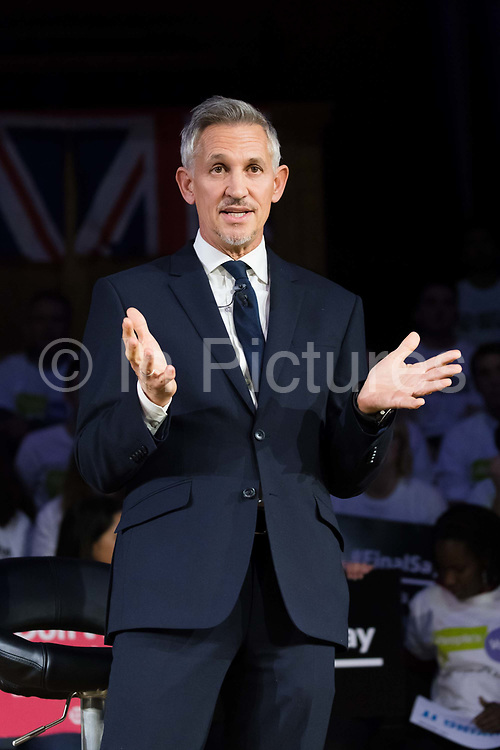 Gary Lineker speaking at a pro-remain rally that rejects the Prime Ministers Brexit deal and demands a Peoples Vote second referendum, held on November 14, 2018 in London, England. The anti-Brexit groups Best for Britain and The Peoples Vote Campaign joint rally calls on Members of Parliament MPs to vote against the Prime Minister, Theresa Mays final Brexit deal.