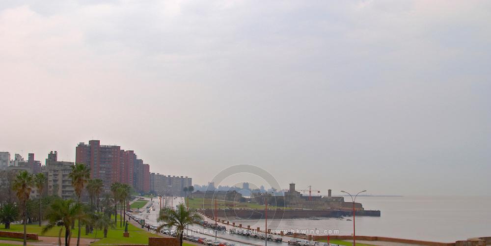 A view over Montevideo city and the Rio de la Plata on a rainy day Rambla sur and Rambla Gran Bretagna along the River Rio de la Plata Montevideo, Uruguay, South America