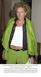 Interior designer KELLY HOPPEN at a party in London on 6th September 2001.<br />ORX 11