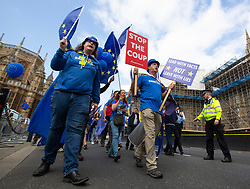 © Licensed to London News Pictures. 03/09/2019. London, UK. Anti Brexit protester Steve Bray(centre) leads a remain protest past The Houses of Parliament. Parliament is returning from the summer recess today with MPs expected to try to stop a no-deal Brexit. Prime Minister Boris Johnson has threatened to hold a snap election if the legislation is passed.  Photo credit: George Cracknell Wright/LNP