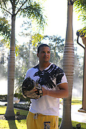 Portrait of Boston Red Sox All-Star catcher Victor Martinez photographed at his home in the Lake Nona subdivision of Orlando, Fla., February 10, 2010.