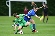 Central Football's Jendi Frank and Southern United's Britney-Lee Nicholson compete for the ball in the National womens league football match, Central Football v Southern United, Massey University, Palmerston North, Sunday, December 02, 2018. Copyright photo: Kerry Marshall / www.photosport.nz