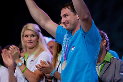 Primoz Kozmus during reception of Slovenian Olympic Team at Kongresni Trg when they came back from London after Summer Olympic games 2012, on August 14, 2012 in Center of Ljubljana, Slovenia (Photo by Matic Klansek Velej / Sportida.com)