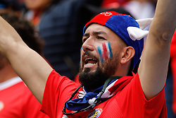 June 22, 2018 - Saint Petersburg, Russia - Costa Rica supporter during the 2018 FIFA World Cup Russia group E match between Brazil and Costa Rica on June 22, 2018 at Saint Petersburg Stadium in Saint Petersburg, Russia. (Credit Image: © Mike Kireev/NurPhoto via ZUMA Press)