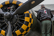 A Boeing B-17 Flying Fortress is prepared for the day - The Duxford Battle of Britain Air Show is a finale to the centenary of the Royal Air Force (RAF) with a celebration of 100 years of RAF history and a vision of its innovative future capability.