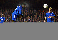 Photograph: Scott Heavey.<br />Chelsea v Besiktas JK. UEFA Champions League Group G. 01/10/2003.<br />Even the bullet header from Jimmy Floyd Hasselbaink cant find the back of the net