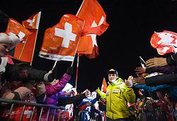 18.01.2014, Lauberhorn, Wengen, SUI, FIS Weltcup Ski Alpin, Wengen, Abfahrt, Herren, im Bild Marcel Hirscher (AUT) Siegerehrung, im Bild Patrick Kueng (SUI) // on podium of mens Downhill race of FIS Ski Alpine World Cup at the Lauberhorn in Wengen, Switzerland on 2014/01/19. EXPA Pictures © 2014, PhotoCredit: EXPA/ Freshfocus/ Christian Pfander<br /> <br /> *****ATTENTION - for AUT, SLO, CRO, SRB, BIH, MAZ only*****