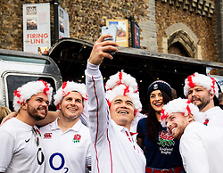 England fans talking a selfie outside Cardiff Castke<br /> <br /> Photographer Simon King/Replay Images<br /> <br /> Six Nations Round 3 - Wales v England - Saturday 23rd February 2019 - Principality Stadium - Cardiff<br /> <br /> World Copyright © Replay Images . All rights reserved. info@replayimages.co.uk - http://replayimages.co.uk
