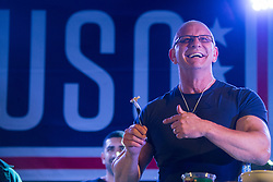 December 21, 2017 - Sevilla, Spain - Chef Robert Irvine performs a cooking demonstration during the Chairmans USO Holiday Tour at Moon Air Base Dec. 21, 2017. .(Credit Image: