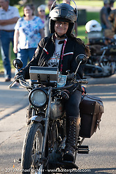 Cris Sommer Simmons riding Effie, her 1915 Harley-Davidson model J in the Motorcycle Cannonball coast to coast vintage run. Stage 8 (314 miles) from Spirit Lake, IA to Pierre, SD. Saturday September 15, 2018. Photography ©2018 Michael Lichter.