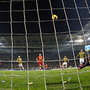 Fenerbahce's goalkeeper Volkan Demirel (R) during their Turkish superleague soccer derby Fenerbahce between Galatasaray at the Sukru Saracaoglu stadium in Istanbul Turkey on Sunday 08 March 2015. Photo by Kurtulus YILMAZ/TURKPIX