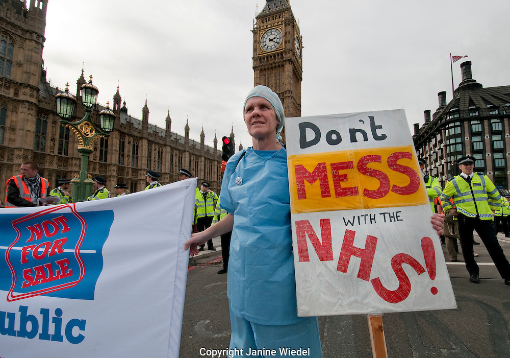 """'Stop the Bill""""  Protest against National Health Service Cuts and privatisation London October 2011"""