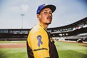 Amarillo Sod Poodles pitcher Lake Bachar (33) wears the special #BacharStrong jersey on Tuesday, Aug. 13, 2019, at HODGETOWN in Amarillo, Texas. [Photo by John Moore/Amarillo Sod Poodles]