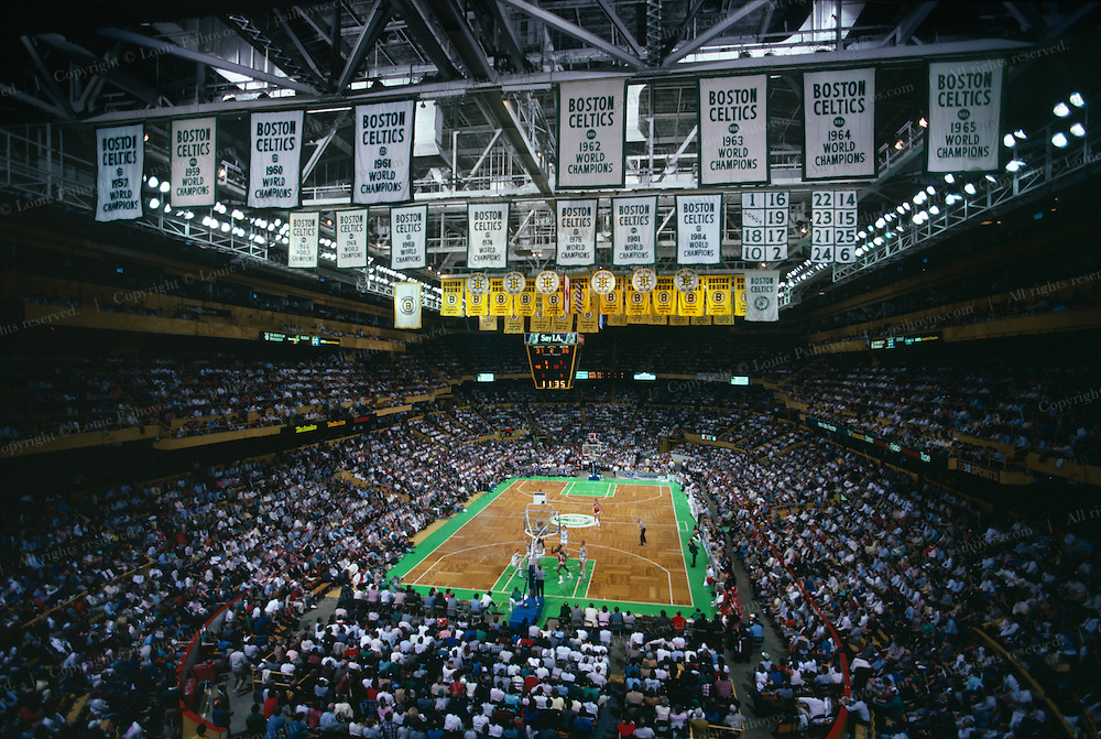 Boston Garden/North Station was torn down to make way for a new stadium.  The Celtics are playing the Atlanta Hawks.