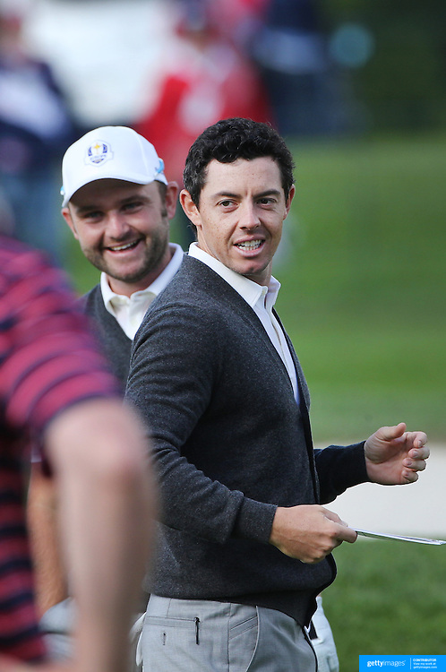 Ryder Cup 2016.  Rory McIlory of Europe with team mate Andy Sullivan during practice day at the Hazeltine National Golf Club on September 29, 2016 in Chaska, Minnesota.  (Photo by Tim Clayton/Corbis via Getty Images)
