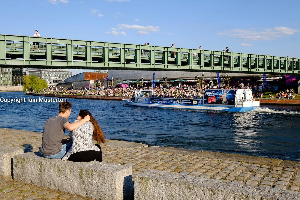 Footbridge crossing Spree River in Berlin Germany