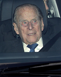 The Duke of Edinburgh leaving the Queen's Christmas lunch at Buckingham Palace, London.