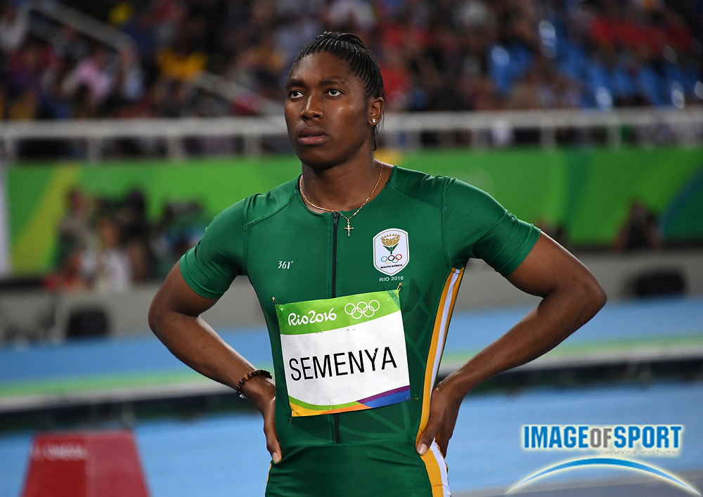 Aug 20, 2016; Rio de Janeiro, Brazil; Caster Semenya (RSA) wins the women's 800m in a national record 1:55.28 during the 2016 Rio Olympics at Estadio Olimpico Joao Havelange. <br /> <br /> *