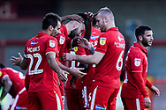 Crawley Town celebrate Ollie Palmer of Crawley Town goal, Crawley Town 3-1 Newport County during the EFL Sky Bet League 2 match between Crawley Town and Newport County at the Broadfield Stadium, Crawley, England on 20 October 2018.
