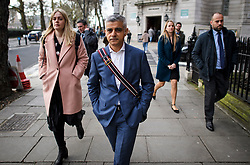 © Licensed to London News Pictures. 07/03/2019. London, UK. Mayor of London SADIQ KHAN is seen in Westminster following a series of media interviews. Khan has come under pressure following a sharp rise in knife crime in the capital. Photo credit: Ben Cawthra/LNP