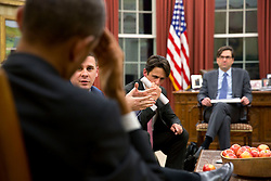 President Barack Obama listens to Senior Advisor Dan Pfeiffer, with David Simas, Director of Political Strategy and Outreach and Jason Furman, Chair, Council of Economic Advisers, right, in the Oval Office, Jan. 30, 2015. (Official White House Photo by Pete Souza)<br /> <br /> This official White House photograph is being made available only for publication by news organizations and/or for personal use printing by the subject(s) of the photograph. The photograph may not be manipulated in any way and may not be used in commercial or political materials, advertisements, emails, products, promotions that in any way suggests approval or endorsement of the President, the First Family, or the White House.