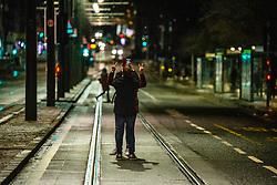 01JAN21 A couple take a selfie on Princes Street, Edinburgh on Hogmanay.