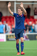 Christophe Berra of Heart of Midlothian salutes the Hearts fans after the Ladbrokes Scottish Premiership League match between Hamilton Academical FC and Heart of Midlothian FC at New Douglas Park, Hamilton, Scotland on 4 August 2018. Picture by Malcolm Mackenzie.