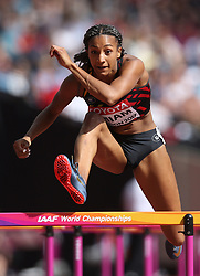 Belgium's Nafissatou Thiam during the 100m element of the Women's Heptathlon  during day two of the 2017 IAAF World Championships at the London Stadium. PRESS ASSOCIATION Photo. Picture date: Saturday August 5, 2017. See PA story ATHLETICS World. Photo credit should read: Martin Rickett/PA Wire. RESTRICTIONS: Editorial use only. No transmission of sound or moving images and no video simulation.