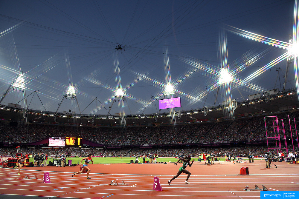 The start of the Women's 400m Hurdles Final at the Olympic Stadium, Olympic Park, during the London 2012 Olympic games. London, UK. 8th August 2012. Photo Tim Clayton