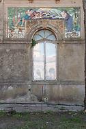 Terme del Corallo or Acque della salute. Majolica by the artist Ermesto Bellandi on the building of the medical clinics