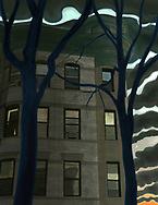 A Booklyn apartment building with crescent moon, trees with clearing storm at sunset.