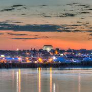 Vertical photo toward downtown Kansas City Kansas at sunset from Woodswether and Broadway in Kansas City, Missouri.