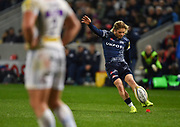 Sale Sharks scrum-half Fat de Klerk kicks a first half penalty during the The Aviva Premiership match Sale Sharks -V- Exeter Chiefs  at The AJ Bell Stadium, Salford, Greater Manchester, England on Friday, October 27, 2017. (Steve Flynn/Image of Sport)