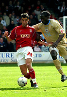 Photo: Dave Linney.<br />Walsall v Bristol City. Coca Cola League 1. 08/04/2006.<br />Bristol's (R) battles with  Michael Leary