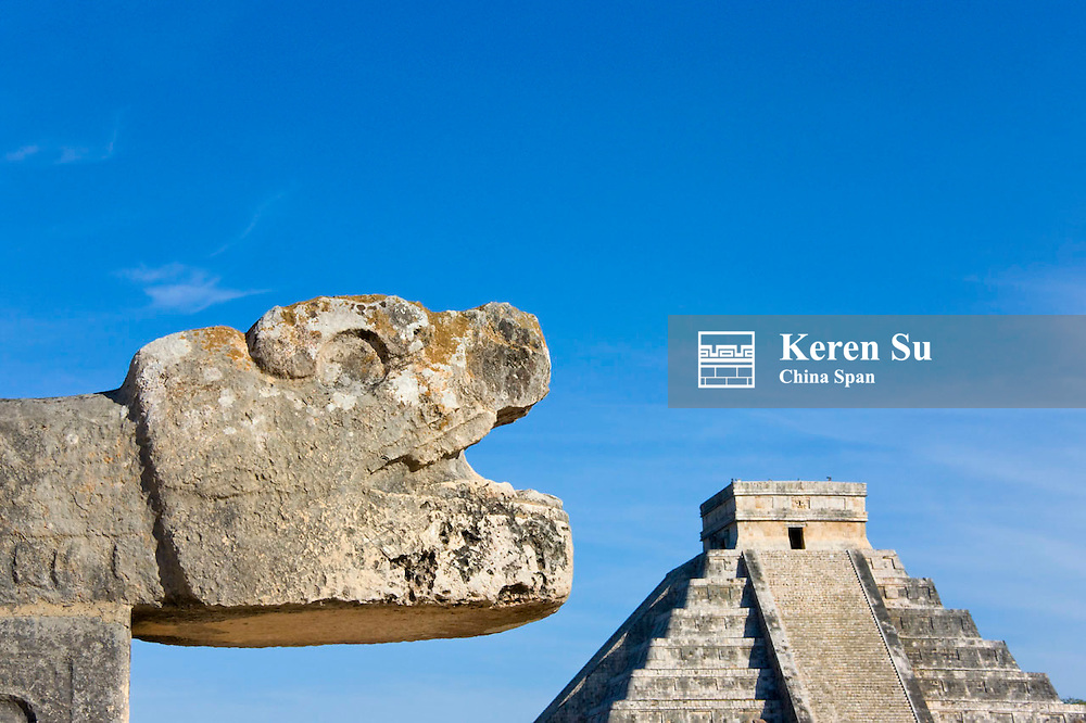 Platform of the Eangles and Jaguars with Temple of Kukulkan (often called El Castillo), Chichen Itza, Yucatan, Mexico
