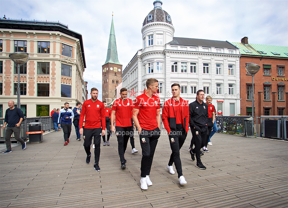 AARHUS, DENMARK - Sunday, September 9, 2018: Wales' Paul Dummett, goalkeeper Daniel Ward, Andy King and Tom Lawrence during a pre-match walk in Aarhus ahead of the UEFA Nations League Group Stage League B Group 4 match against Denmark. (Pic by David Rawcliffe/Propaganda)