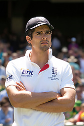 © Licensed to London News Pictures. 29/12/2013. A disappointed Alastair Cook with his arms crossed after England's loss during Day 4 of the Ashes Boxing Day Test Match between Australia Vs England at the MCG on 29 December, 2013 in Melbourne, Australia. Photo credit : Asanka Brendon Ratnayake/LNP