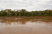 Riverbed of the Madre de Dios River, near the town of Boca Colorado, Peru. In the interior of the Amazon jungle there are camps for the extraction of gold.