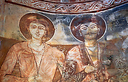Pictures & images of Nikortsminda ( Nicortsminda ) St Nicholas Georgian Orthodox Cathedral rich interior frescoes, 16th century, Nikortsminda, Racha region of Georgia (country). A UNESCO World Heritage Tentative Site. .<br /> <br /> Visit our MEDIEVAL PHOTO COLLECTIONS for more   photos  to download or buy as prints https://funkystock.photoshelter.com/gallery-collection/Medieval-Middle-Ages-Historic-Places-Arcaeological-Sites-Pictures-Images-of/C0000B5ZA54_WD0s<br /> <br /> Visit our REPUBLIC of GEORGIA HISTORIC PLACES PHOTO COLLECTIONS for more photos to browse, download or buy as wall art prints https://funkystock.photoshelter.com/gallery-collection/Pictures-Images-of-Georgia-Country-Historic-Landmark-Places-Museum-Antiquities/C0000c1oD9eVkh9c