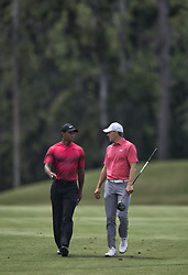 May 13, 2018 - Ponte Vedra Beach, FL, USA - The Players Championship 2018 at TPC Sawgrass..Tiger Woods, left , with Jordan Spieth walking up the fairway (Credit Image: © Bill Frakes via ZUMA Wire)