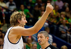 Dirk Nowitzki of Germany reacts during basketball game between National basketball teams of Germany and Turkey at FIBA Europe Eurobasket Lithuania 2011, on September 9, 2011, in Siemens Arena,  Vilnius, Lithuania.  (Photo by Vid Ponikvar / Sportida)