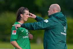 17.07.2011, ANTON-MALL-STADION, Donaueschingen, FSP, GER, 1.FBL, FV Donaueschingen vs Werder Bremen, im Bild Aleksandar Stevanovic (Bremen #34) und Thomas Schaaf (Trainer Werder Bremen)..// during the friendly Match GER, 1.FBL, FV Donaueschingen vs Werder Bremen on 2011/07/17,  ANTON-MALL-STADION, Donaueschingen, Germany..EXPA Pictures © 2011, PhotoCredit: EXPA/ nph/  Kokenge       ****** out of GER / CRO  / BEL ******