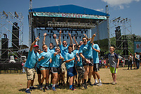 """The Eastern Nazarene College group of """"soulfesters"""" from Quincy, MA get into their groove for Juniper the first band to take the Main Stage at Gunstock's Soulfest 2017 on Thursday afternoon.  (Karen Bobotas/for the Laconia Daily Sun)"""