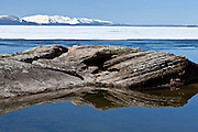 Yellowstone Lake in late Spring still covered with ice