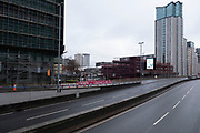National coronavirus lockdown three begins in Birmingham city centre and the normally busy A38 has far less traffic than is normal on 6th January 2021 in Birmingham, United Kingdom. Following the recent surge in cases including the new variant of Covid-19, this nationwide lockdown, which is an effective Tier Five, came into operation today, with all citizens to follow the message to stay at home, protect the NHS and save lives.