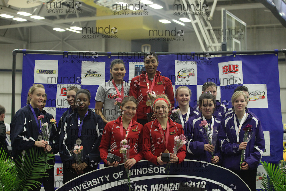 (Windsor, Ontario---13 March 2010) western, toronto, calgary medal ceremony at the 2010 Canadian Interuniversity Sport Track and Field Championships at the St. Denis Center. Photograph copyright Geoff Robins/Mundo Sport Images. www.mundosportimages.com
